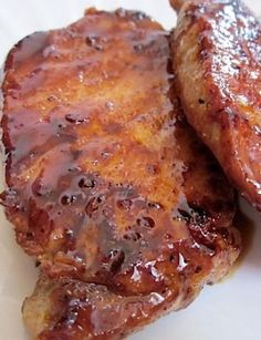 Sweet and Spicy Glazed Pork Chops - Budget Bytes- Glazed Pork Chops ~ Brown Sugar, Cayenne, Garlic, Paprika, and Salt & Pepper… Super easy and very tasty! Crock Pot Recipes, Easy Pork Chop Recipes, Pork Recipes, Cooking Recipes, Recipies, Butterfly Pork Chop Recipes, Cooking Rice, Cooking Games, Healthy Recipes