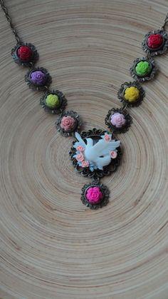 multicolor necklace, multicolor roses and nice bird. $ 40
