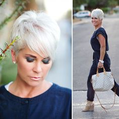 Gray Lace Frontal Wigs cover your grey hair mascara – Fashion Wigs Grey Wig, Short Grey Hair, Short Hair Cuts For Women, Short Hair Over 50, Grey Curly Hair, Black And White Wig, Hair Mascara, Curly Hair Styles, Natural Hair Styles