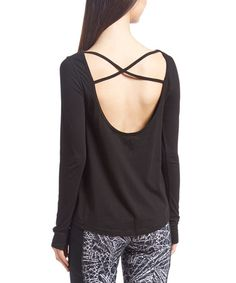 Love this Black Strappy Cutout-Back Tee on #zulily! #zulilyfinds