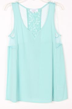 Lace Inset Maggie Top in Pale Mint