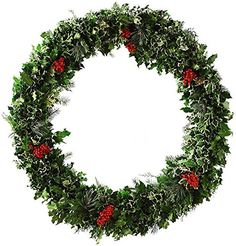 Deluxe Holly And Greens Wreath 48ROUND x 6D GREEN  RED >>> This is an Amazon Affiliate link. You can get more details by clicking on the image.