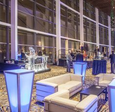 The pre-function space outside the new Cobo ballroom gives customers a floor to ceiling view of the Detroit River and Windsor, Ontario. Beautiful.