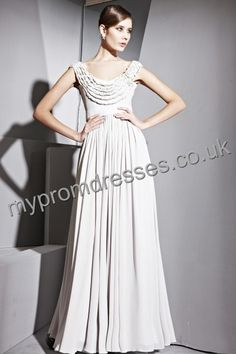 Floor Length Round-neck Gray Chiffon A-line Evening Dress  http://www.mypromdresses.co.uk