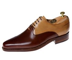 Buday Shoes - MK-06 - Oxford - 'Van Gogh' Box calf/Crust - Brown/Antique beige  English welted - Simple sole