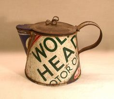 Great Depression-era example of a make-do teapot. made from old tins