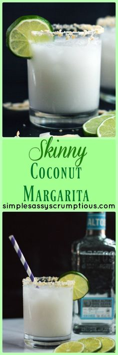Skinny Coconut Margarita made with coconut water and cream of coconut. A light refreshing summer drink that is low calorie and packed with tropical flavor.