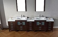 "99 & Up 109"" Virtu Dior KD-700110-ES bathroom vanity #Virtu #HomeRemodel #BathroomRemodel #BlondyBathHome #BathroomVanity"