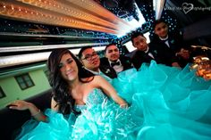 Taking a picture inside and outside the limo or party bus makes for lovely pictures on your Quinceanera. \\ Photo Credit: Sally Vee Photography