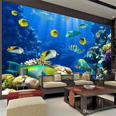 2015 Cute Marine Fish Photo Wallpaper 3D Custom Size Underwater World Children's room Bedroom TV background 3D Mural wallpaper Free shipping