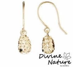 """""""Cone""""  14 k gold plated sterling silver earrings (massive) set with a black cubic zirkonia"""