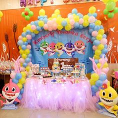 Baby shark party theme for KIMMY YOVANKA BERLY Birthday . Thanks to mommy For trusting us in Kimmy's birthday . Party Planner Cake by . 1st Birthday Themes Girl, 2nd Birthday Parties, Baby Hai, Shark Birthday Cakes, Shark Party Supplies, Girls Party Decorations, Like4like, Pink, Party Ideas