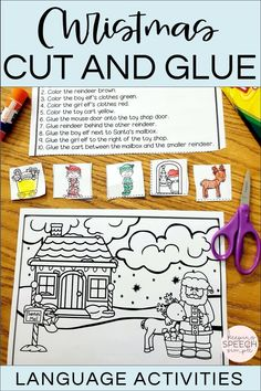 Keep your students engaged during the busy holiday season with these hands on Christmas themed language activities that target basic positional concepts, seasonal vocabulary and following directions. This resource is appropriate for preschoolers, kindergarten students and early elementary students. Just and print and use these black and white printable activities. These worksheets are great for small group speech therapy sessions, preschool centers or for home practice. Fun Christmas activity!