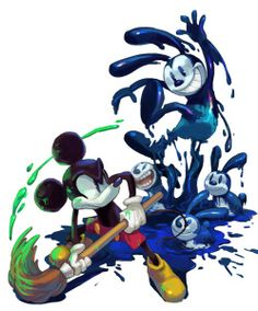 """Mickey wielding a paint brush. The """"evil bunny"""" was probably trying to cast Mickey in a porn movie."""