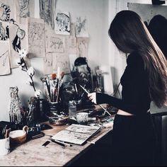 Jilaiya in Jezebeth 's art room Studios D'art, Atelier Photo, Artist Aesthetic, Art Hoe, Art Inspo, Art Photography, Photography Website, Iphone Photography, Artsy