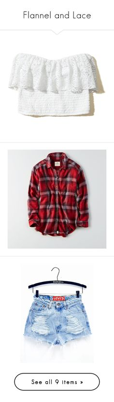 """""""Flannel and Lace"""" by sweetprim on Polyvore featuring tops, white, white ruffle top, lace top, crop tube top, sweetheart crop top, flutter-sleeve tops, shirts, red and destroyed shirt"""