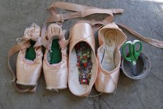 Lia Cirio's prepped pointe shoes. (Photo by Lauren Pajer, courtesy Boston Ballet)