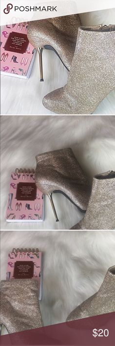 """Charlotte Russe Rose Gold Glitzy Boots Size 7 Perfect Charlotte Russe Rose Gold Glimmer & Glitzy Boots. Size 7. Excellent Condition. Perfect to wear on a night out. Be the """"IT"""" girl. If you want it, make an offer ✅ I need to make room for new items so I love to negotiate. Bundle multiple items for the best savings. Pay one price of shipping 📦! Thanks for visiting Charlotte Russe Shoes Ankle Boots & Booties"""