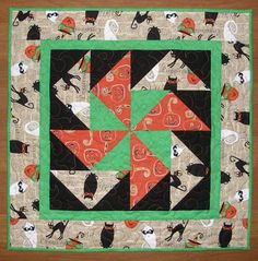 Halloween Quilted Table Topper Green Orange Table by HollysHutch