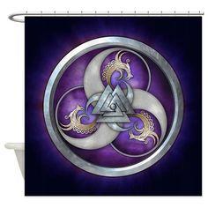 Purple Norse Triple Dragons Shower Curtain on CafePress.com