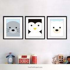 Nursery Decor: Arctic Polar Bear Wall Art, Wall Decorations / Posters for Baby…