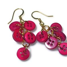 Raspberry Earrings,  Button Dangle Earrings. $12.00, via Etsy.