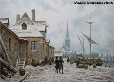 Sci-fi Paintings by Vadim Voitekhovitch, a talented painter from Germany. He created the modern concept with Oil on canvas in a vintage and Steampunk Caspar David Friedrich, Horse Carriage, Tall Ships, Cool Paintings, Dieselpunk, Great Pictures, Painting & Drawing, Illustrators, Oil On Canvas