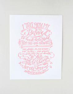 gorgeous pink wedding vows print $20