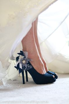 Navy Blue wedding shoes - one of my brides' great DIY idea!  www.meganaldridge.com.au