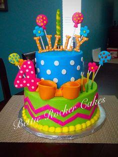 Girly Colorful Bright Birthday Cake Girls teen polka dot chevron Bettierockercakes.blogspot.com San Antonio, TX