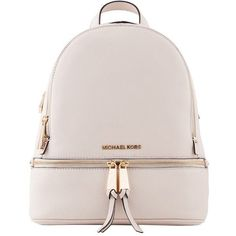 Michael Kors Cream Rhea Small Leather Backpack (475 AUD) ❤ liked on Polyvore featuring bags, backpacks, backpack, leather bags, leather daypack, michael kors backpack, leather backpack bag and real leather backpack