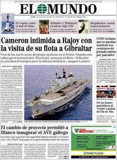 Los Titulares y Portadas de Noticias Destacadas Españolas del 9 de Agosto de 2013 del Diario El Mundo ¿Que le pareció esta Portada de este Diario Español?