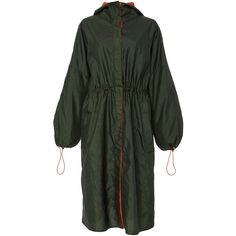 Rosetta Getty     Water Repellant Parka (20.030.060 IDR) ❤ liked on Polyvore featuring outerwear, coats, green, parka coat, cinch coats, water repellent coat, green hooded coat and hooded parka coat