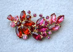 Weiss Pink and Red Rhinestone Vintage Brooch by HighClassHighway