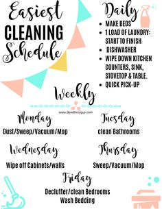 Cleaning Hacks for a Practically Self-cleaning Home - DIY With My Guy Cleaning schedule for working moms. Cleaning Hacks for a Practically Self-cleaning Home - DIY With My Guy Daily Cleaning Checklist, House Cleaning Tips, Diy Cleaning Products, Deep Cleaning, Spring Cleaning, Cleaning Hacks, Diy Hacks, Bathroom Cleaning Checklist, Household Cleaning Schedule