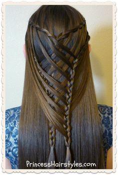 Criss cross waterfall mermaid braid hairstyle tutorial