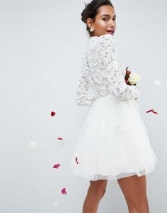 ASOS EDITION Embellished Tulle Mesh Mini Wedding Dress