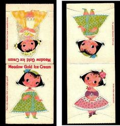 Examples of art by Mary Blair for Meadow Gold.