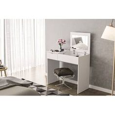 Shop for Polifurniture Pull Top Vanity, White. Get free delivery On EVERYTHING* Overstock - Your Online Furniture Store! Vanity Desk, Vanity Set With Mirror, Wood Vanity, Storage Compartments, Storage Drawers, Small Storage, Storage Spaces, White Bedroom Vanity, Online Furniture Stores