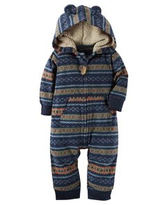 Baby Boy Hooded Fleece Jumpsuit | Carters.com