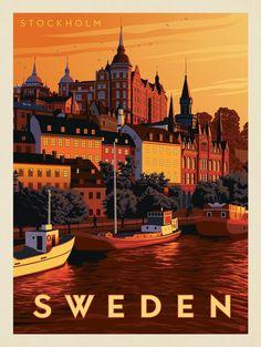 Anderson Design Group World Travel Sweden Stockholm VintageDestination is part of Vintage poster design - Poster Retro, Vintage Travel Posters, Sweden Stockholm, Stockholm Travel, Gothenburg Sweden, Voyage Suede, Tourism Poster, Sweden Travel, Travel Netherlands