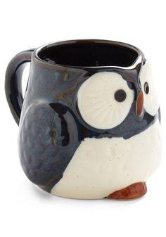 Owl Warm and Cozy Mug in Navy - Blue, Vintage Inspired, Owls, Dorm Decor, Eco-Friendly, Mid-Century