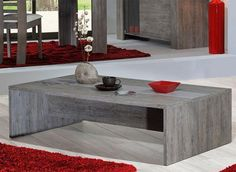 Contemporary coffee table in grey wood effect veneer with a light grey stripe