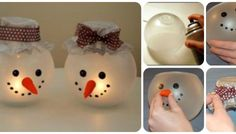 Illuminated Snowman Candle Holders