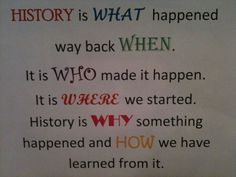 History is… a teacher created this to go into students social studies binders. This is a good, but simplistic, way to explain what history is and why they should care. The will see the poster every everytime the open their folders or notebooks. 7th Grade Social Studies, Social Studies Classroom, Teaching Social Studies, Teaching Career, History Teachers, Teaching History, History Education, Teaching Resources, History Bulletin Boards