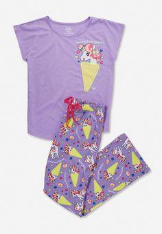Unicorns and ice cream pajama set