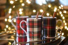 plaid mugs