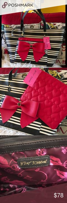 Betsey Johnson Big red bow Striped Tote ❤️ Hearts Stylish LARGE black and white striped Betsey bag embellished with a huge red bow! Made with a large front pouch that carries a second adorable red hearts embossed bag that is also detachable for a wristlet FUN  print interior and golden Betsey Johnson logo on the back! Betsey Johnson Bags Totes