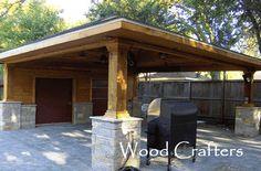 Classic carport garage with 39 lean to 39 log store fibre for Victorian carport