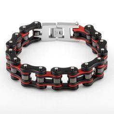 Bracelet Chaîne Moto Large 19mm Rouge et Noir